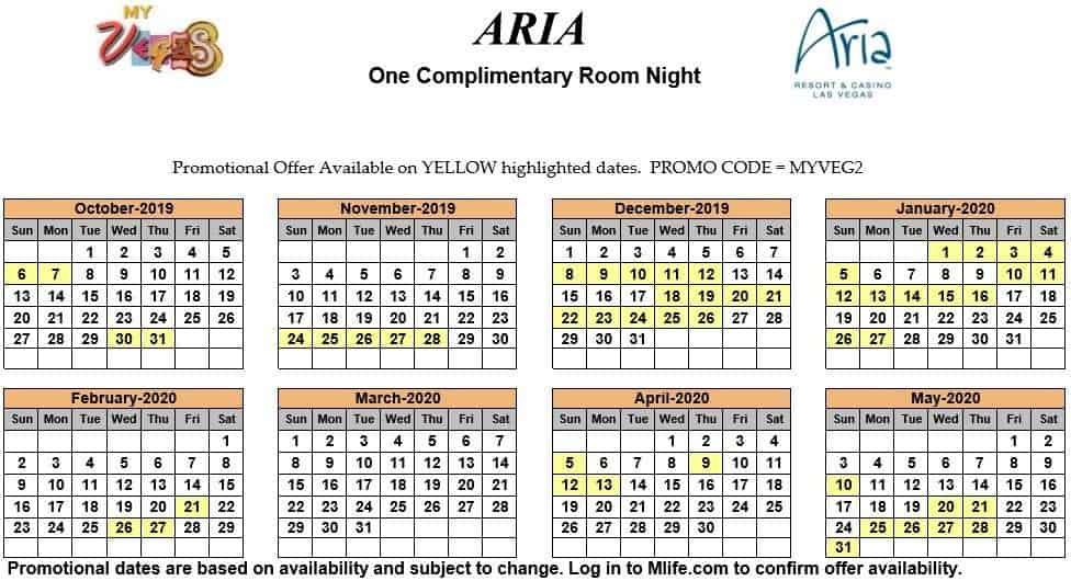 aria one night complimentary room calendar