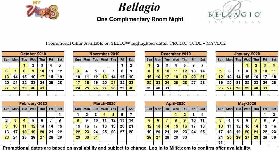 bellagio one night complimentary room calendar