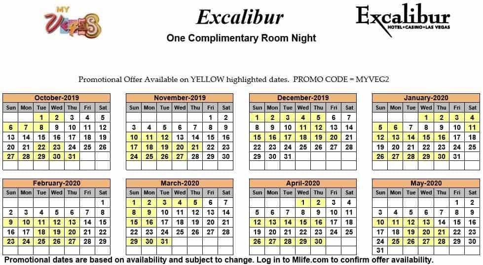 excalibur one night complimentary room calendar