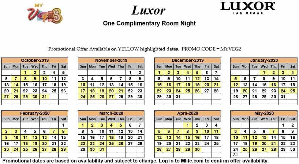 luxor one night complimentary room calendar