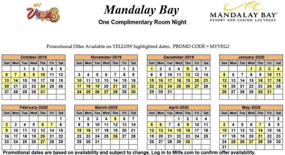 mandalay bay one night complimentary room calendar