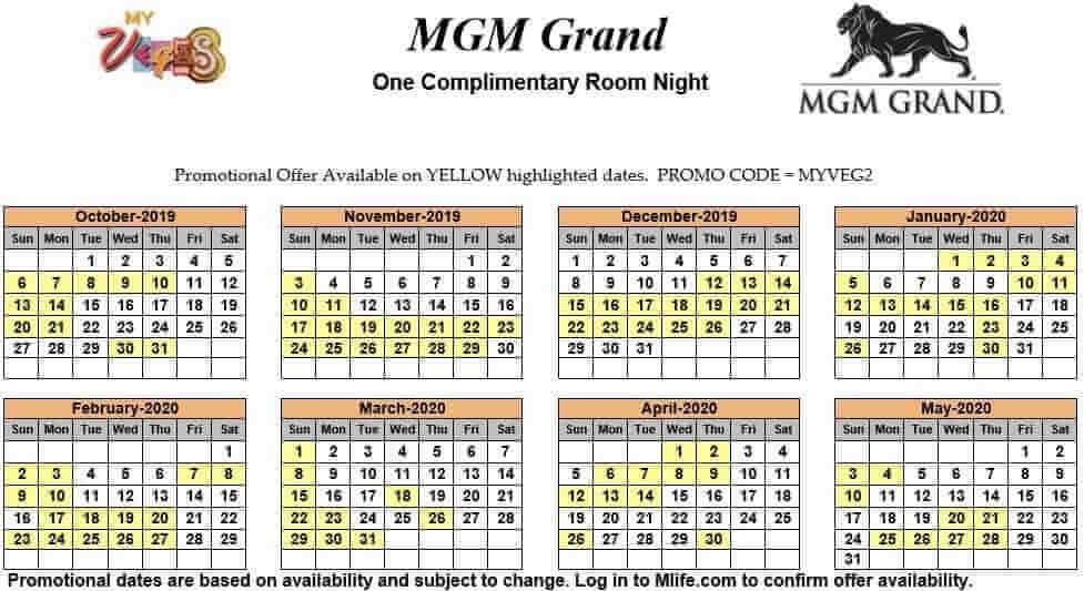 mgm grand one night complimentary room calendar