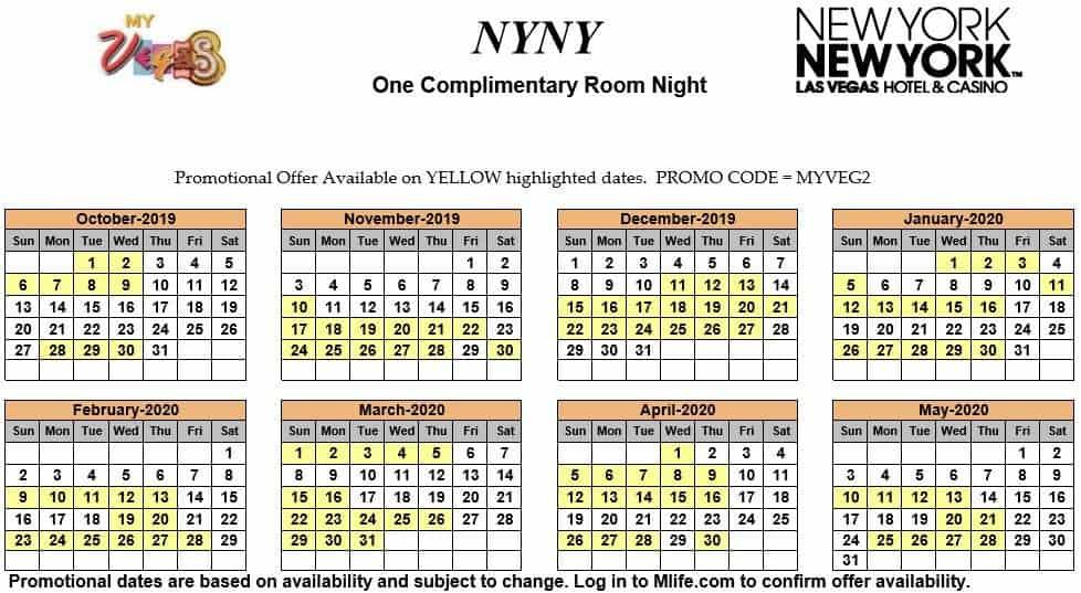 ny ny one night complimentary room calendar