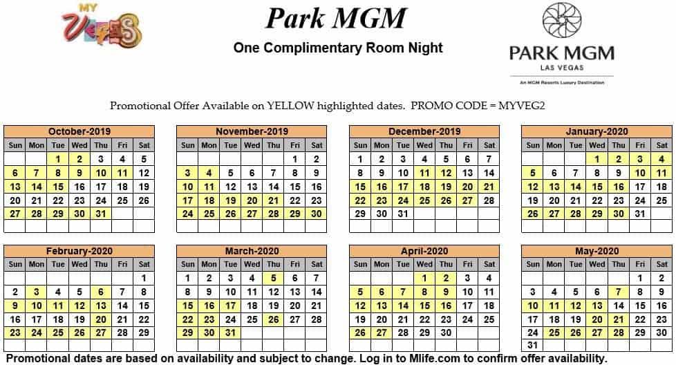 park mgm one night complimentary room calendar