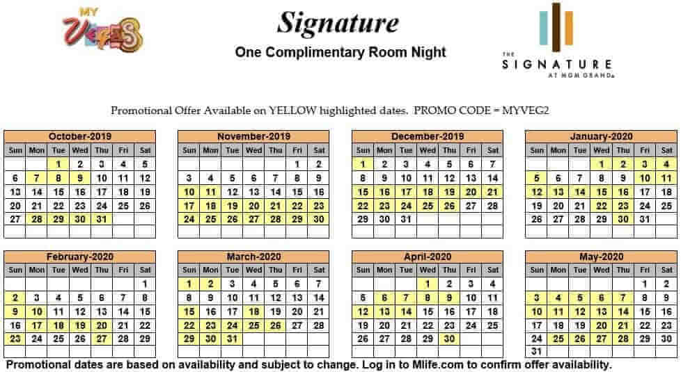 signature at mgm grand one night complimentary room calendar