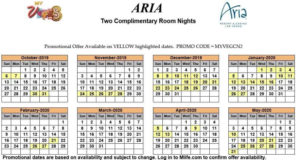 aria two night complimentary room calendars