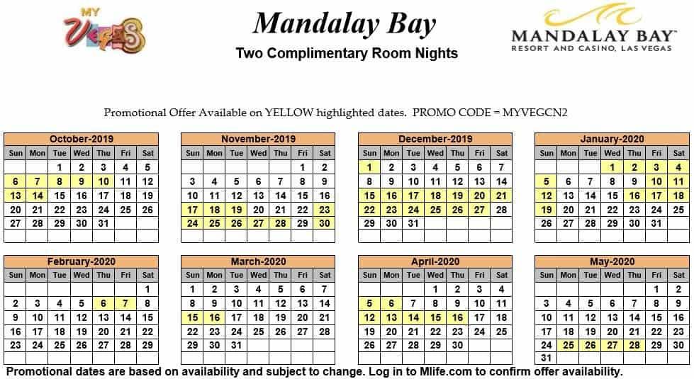 mandalay bay two night complimentary room calendars