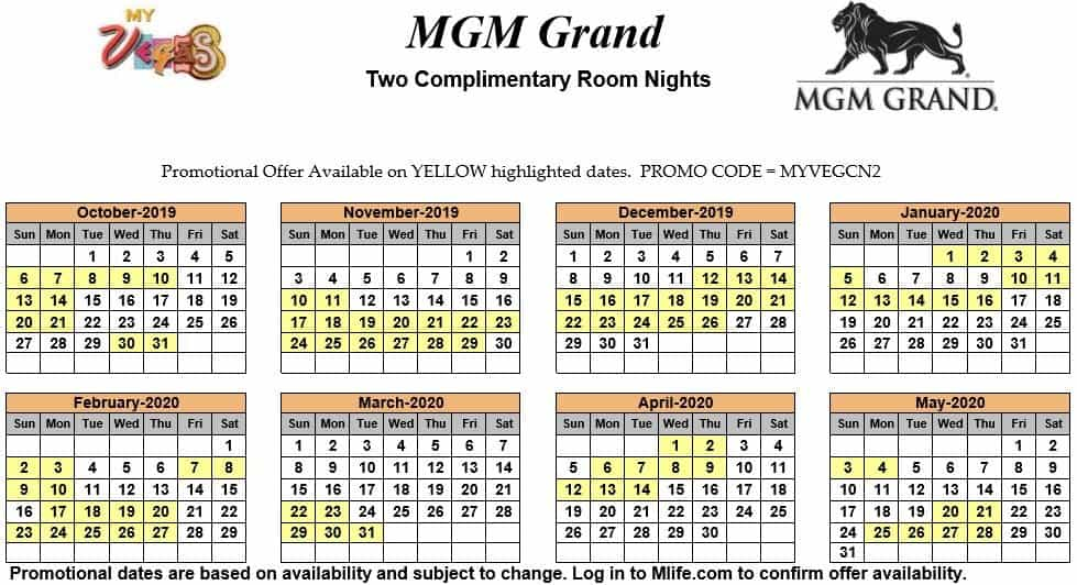 mgm grand two night complimentary room calendars