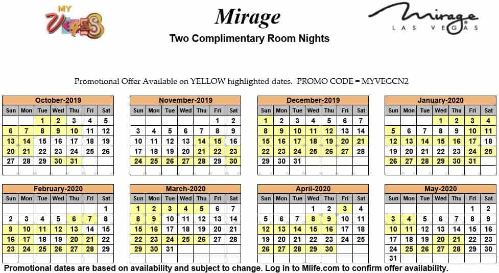 the mirage two night complimentary room calendars