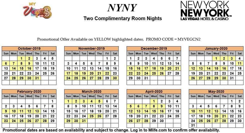 ny ny two night complimentary room calendars