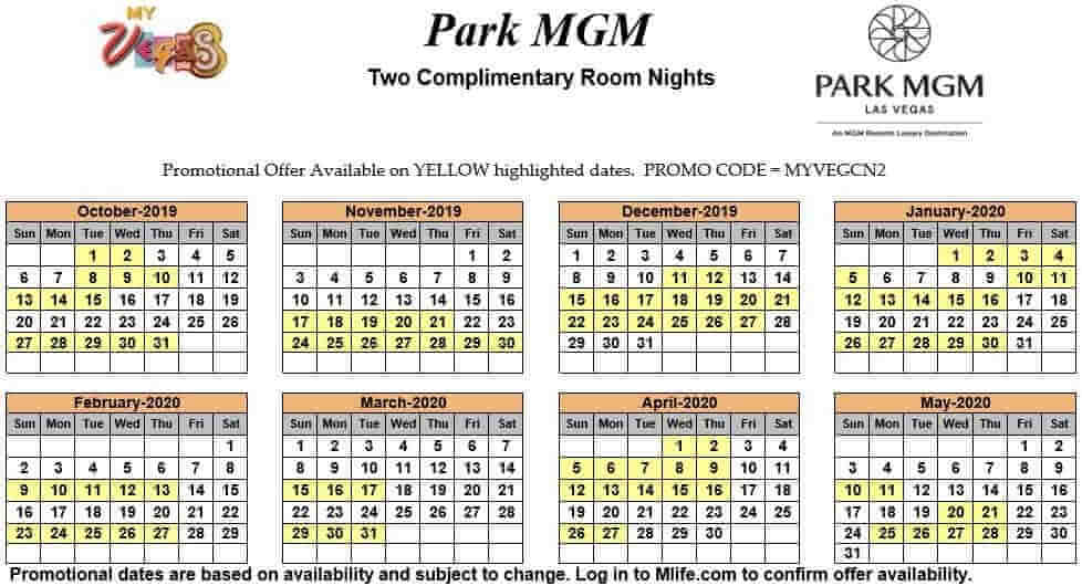 park mgm two night complimentary room calendars