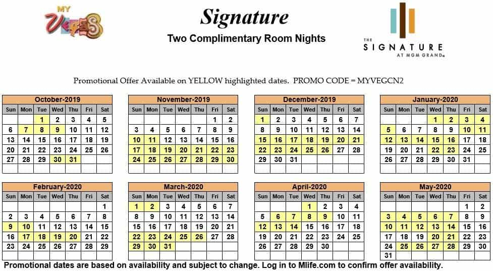 signature at mgm grand two night complimentary room calendars
