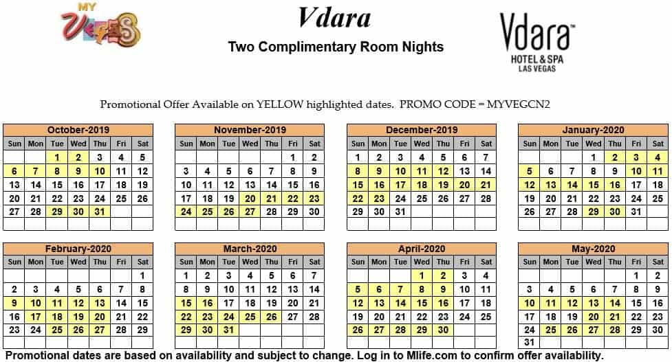 vdara two night complimentary room calendars