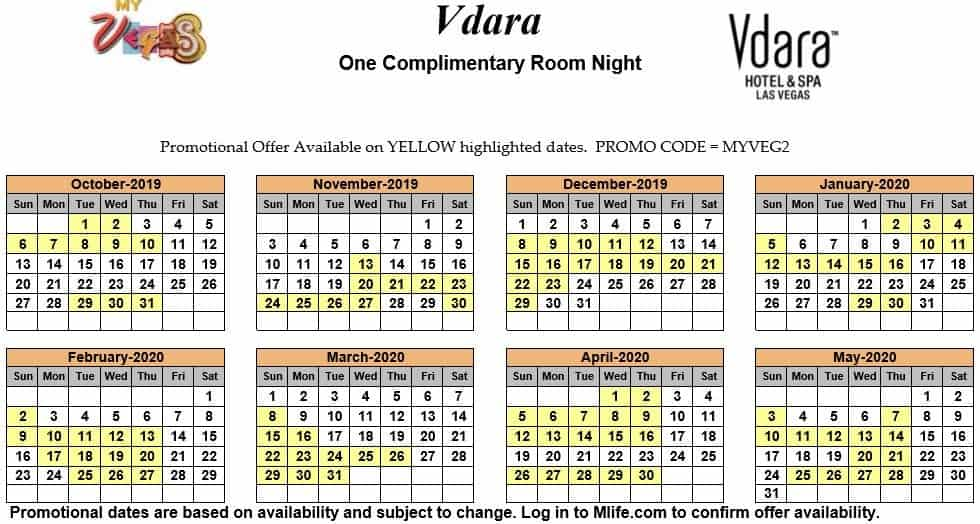 vdara one night complimentary room calendar
