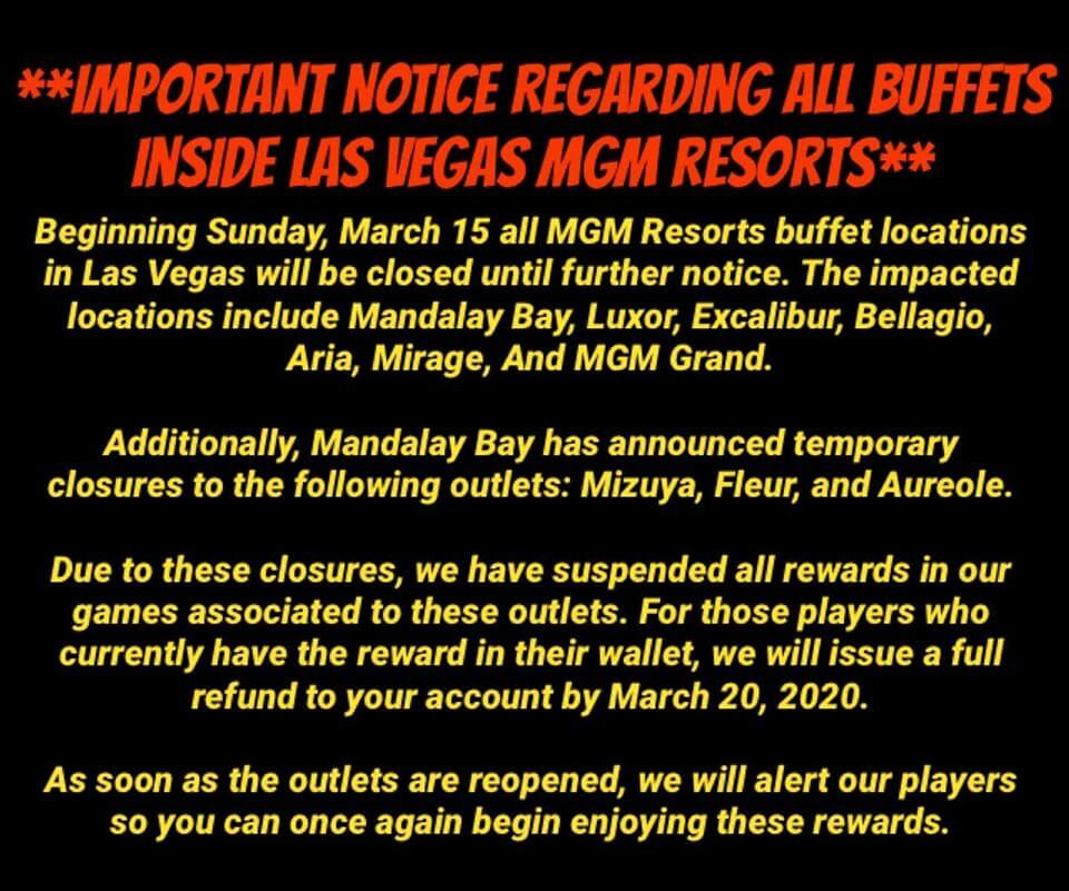 mgm resorts buffets closed
